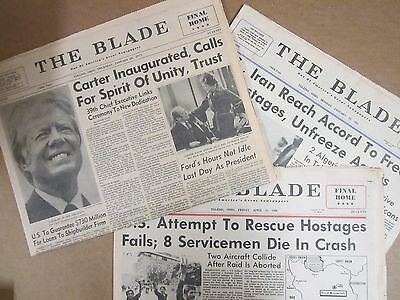 3 Vintage Newspapers - President Carter - Iran Rescue Fails - Hostages Freed -