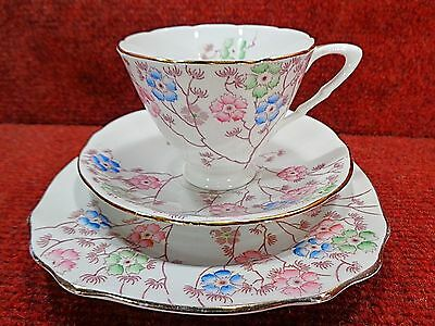 THOMAS POOLE / ROYAL STAFFORD Sprigs of Pink Blue Green Flowers TEA TRIO c1940s