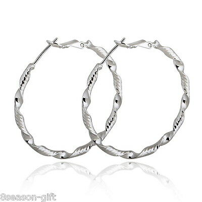 HX 1Pair Big Hoop Earrings 18K White Gold Plated New Fashion Wave Curvy HX