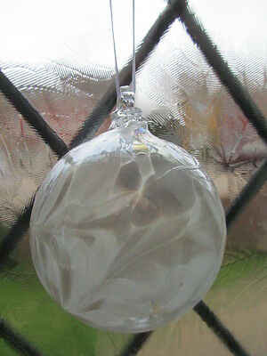 Glass Mouth Blown Spirit or Friendship Ball,White Lustre 8cm Boxed Ideal Gift