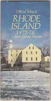 1977-78 Official State Issue Road Map Of Rhode Island