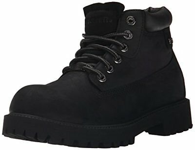 Skechers USA Men's Sergeants Verdict Chukka Boot, Black Smooth Leather, 11.5 M