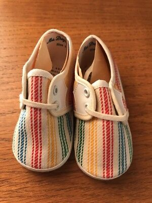 """Vintage """"Mrs. Day's IDEAL Baby Shoes"""", Fabric with laces -tie, striped, Size 1"""