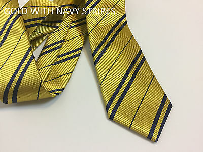 Hufflepuff Tie ~ Gold with Navy Stripes ~ Harry Potter Tie for Halloween Costume