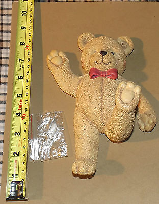 "Home Interiors Kids 7.5"" Ceramic Bear Wall Hook or Decoration with Hardware"