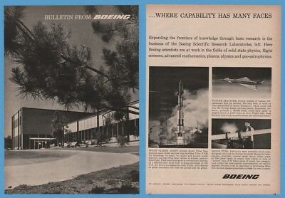 1960 Boeing Bulletin Dyna Soar Space Glider atop Titan Missile Supersonic Jet Ad