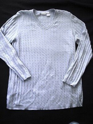 In Due Time Maternity Sweater Light Blue Cable Knit XL Womens