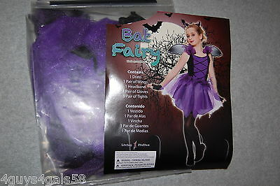 """Girls Halloween """"BAT FAIRY"""" COSTUME Complete Outfit PURPLE BLACK Size S 4-6"""