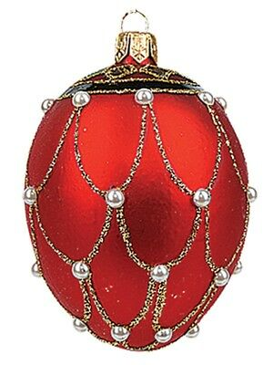 Mini Red Pearl Egg Faberge Inspired Polish Glass Ornament  Easter Decoration