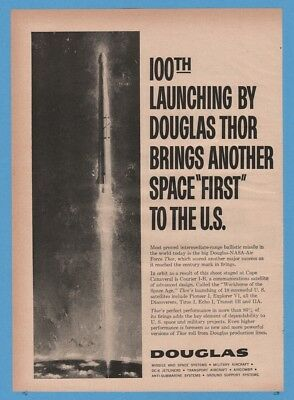 1960 Douglas Thor Missile 100th Launch NASA Air Force Space First Art Ad