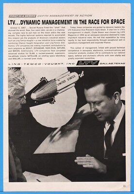1962 Ling Temco Vought LTV Dallas TX Clyde Skeen Space Race Missile Art ad