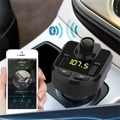 Hands-free Bluetooth Car Kit FM Transmitter Dual USB Car Charger Music Player ED