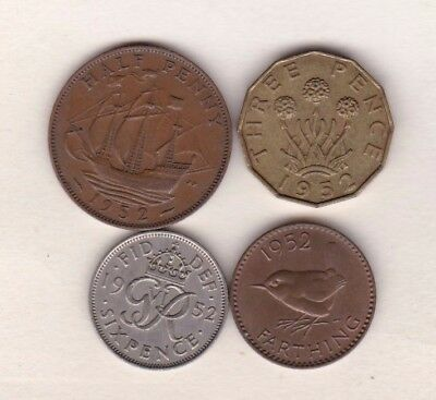 1952 George Vi Coin Set Of 4 Coins In Very Fine Or Better Condition