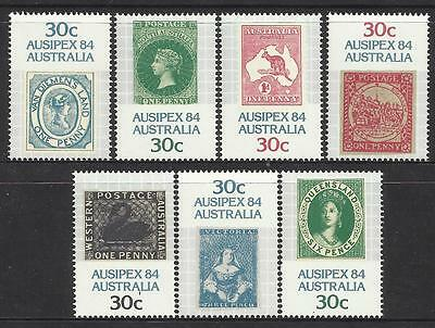 AUSTRALIA 1984 AUSIPEX EXHIBITION Set of 7 COLONIES STATES Stamps MNH.