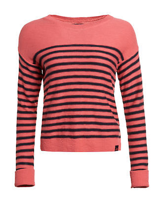 New Womens Superdry Factory Second Breton Icarus Knit Jumper Coral