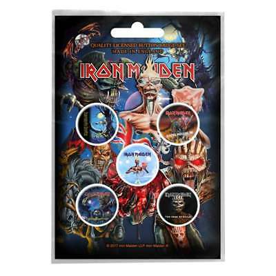 Iron Maiden badge pack 5 x Pin Button Albums band logo Book of Souls Official
