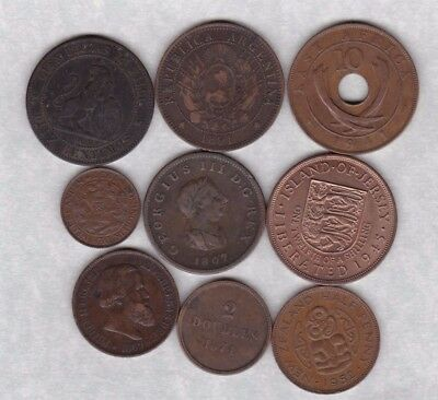Nine Different World Copper Coins Dated 1807 To 1952 In Fine Or Better Condition