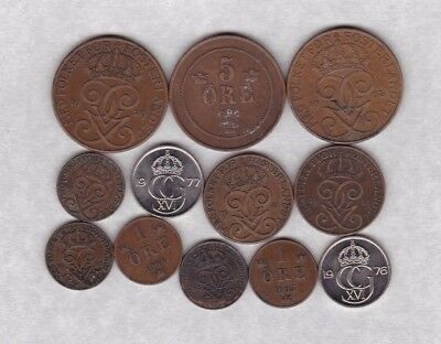 12 Different Coins From Sweden Dated 1892 To 1977 In Fine Or Better Condition