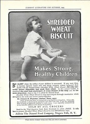 1903 Shredded Wheat Biscuit Cereal Makes Strong Children Healthy Ad