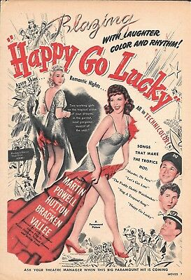 1943 Happy Go Lucky Movie Promo Ad Blazing With Laughter