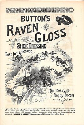 Old Button's Raven Gloss Shoe Dressing Best For Ladies Use Ad