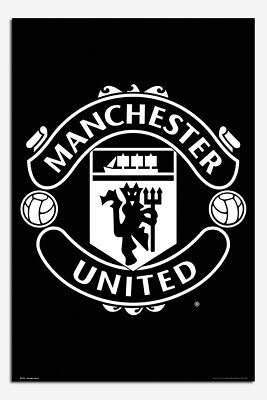 Manchester United Black & White Crest Poster New - Maxi Size 36 x 24 Inch