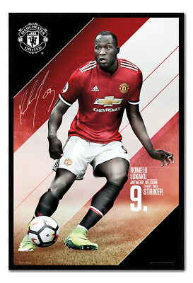 Framed Manchester United Lukaku 2017 / 2018 Season Poster New