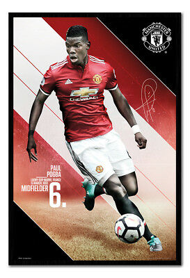 Framed Manchester United Pogba 2017 / 2018 Season Poster New