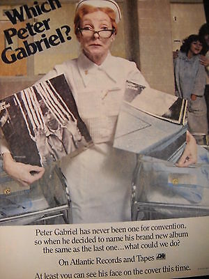 PETER GABRIEL preserved 1978 PROMO AD Nurse Holding First 2 Albums WHICH ONE