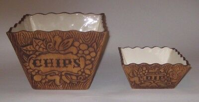 CHIPS & DIP w/Faux WOOD & FRUIT Vintage 1958 TREASURE CRAFT CALIFORNIA Pottery