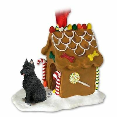 Bouvier des Flandres Cropped Ears Dog Ginger Bread House Christmas ORNAMENT