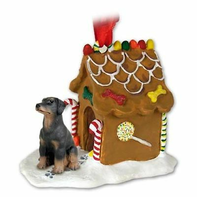 Doberman Black Uncropped Ears Dog Ginger Bread House Christmas ORNAMENT
