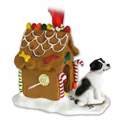 Jack Russell Terrier Blk White Smooth Dog Ginger Bread House Christmas ORNAMENT