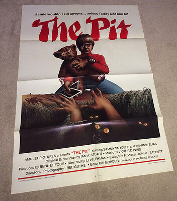 THE PIT Movie Poster 1981 Sci-Fi Creature Horror Teddy Bear Monster Demon Child