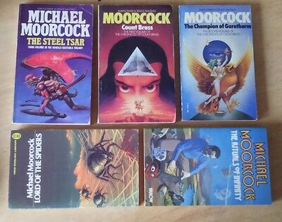 Michael Moorcock 5 Vintage 1970's Science Fiction Fantasy Paperbacks Multiverse
