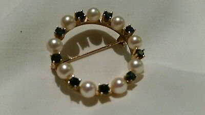 14K Pearl And Sapphires Brooch