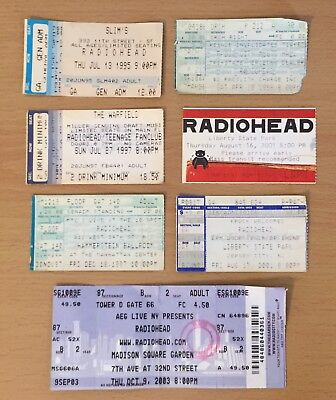1995 - 2003 Radiohead Concert Ticket Stub Lot Of (7) San Francisco New York City