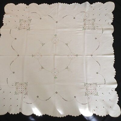"""Amazing Vtg LINEN TABLECLOTH Hand Embroidery & Openwork 42x42""""  SCALLOPED EDGE"""