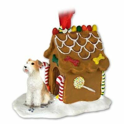 Wirehaired Fox Terrier Dog Ginger Bread House Christmas ORNAMENT