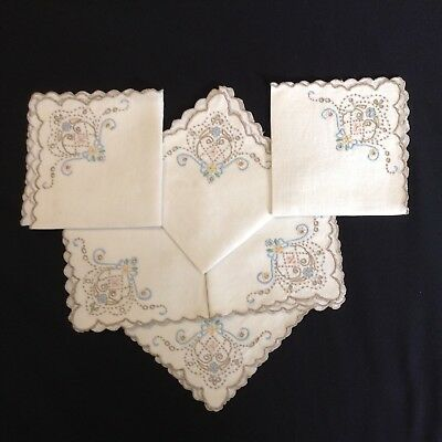 "6 LOVELY Hand-embroidered  Handmade Openworked NAPKINS 10.5"" sq SCALLOPED EDGE"