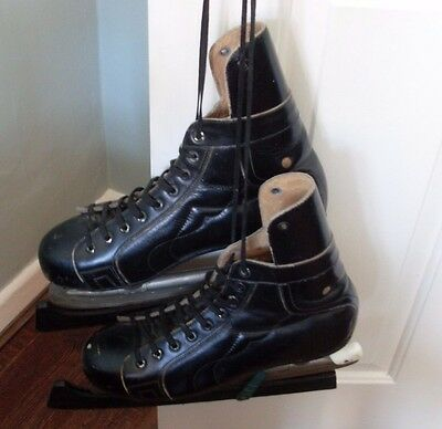 Vintage 1940's / 1950's All Leather Mens Ice Hockey Skates Hungarian Size 42 Vgc