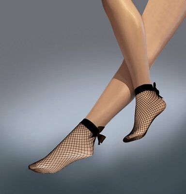 Ladies Fishnet Ankle Highs Socks with Bow by Silky - One Size in Black
