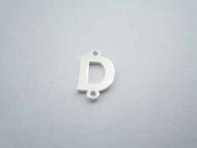1 connettore 2 fori  lettera D in argento 925 made in italy misure 11 x 6 mm