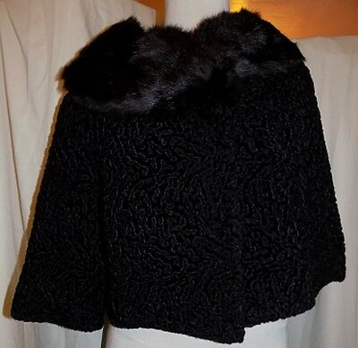 Vintage Lord & Taylor Curly Lamb Black Fur Jacket