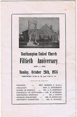 Southampton United Church Fiftieth Anniversary 1958 Historical List of Ministers