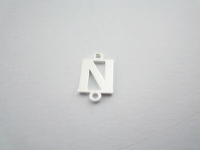 1 connettore 2 fori  lettera N in argento 925 made in italy misure 11 x 6 mm