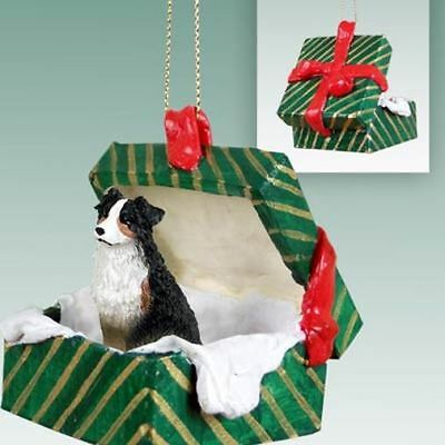 Australian Shepherd Tricolor Dog Green Gift Box Holiday Christmas ORNAMENT