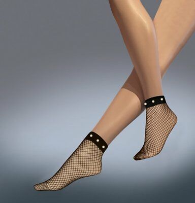 Ladies Fishnet Ankle Highs Socks with Pearls by Silky - One Size in Black