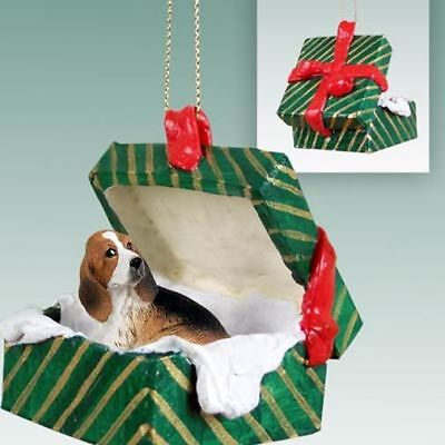 Basset Hound Dog Green Gift Box Holiday Christmas ORNAMENT