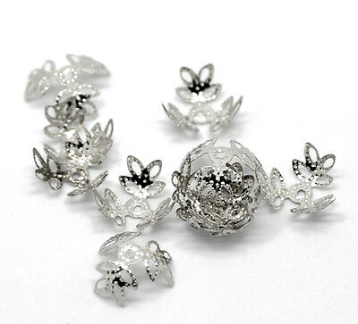 300PCs Newest Silver Tone Flower Bead Caps Findings 14x14mm(Fit 12-14mm Bead)